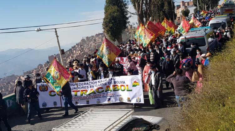 Carniceros marchan en La Paz y piden abrogar el DS 2489 y solucionar alza de precios